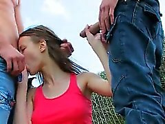 Amazing double coitus outside with teen