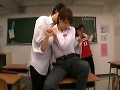 Schoolgirl is being punished in the classroom getting her t