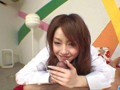 Cock sucking Ria Sakurai gets nailed in proper porn scenes