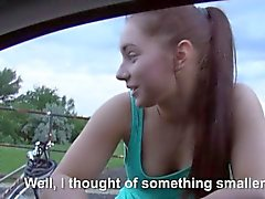 Pretty teen Jenny Dark fucked on the back of the wheels