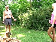 Slender young blondes fuck old woodcutter in wild positions