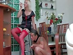 Young european amateur blonde in stockings femdom pussy pounding