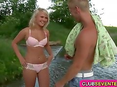 Lovely blond teen fucked by the river