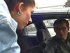 Nasty brunette teen taking cock in auto shop