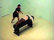Relentless whipping of bound slut