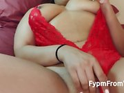 Bubble Butt Latina wears red lingerie and gets fucked