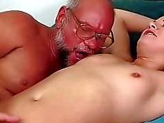 Grandpa and hairy young girl pissing and fucking