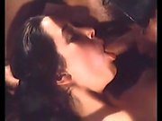 Small tit brunette gives blowjob to a big cock