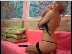 Ravishing blonde exposes her big hooters and drills her ach