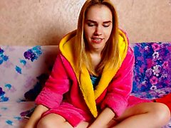 Blond teen Leah Wilde jerking a massive hard stiff