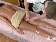 Teen blondie getting a hot massage and fuck