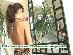 Jesse gorgeous brunette chick with natural tits playing with her pussy and stuffing