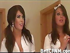 Hot school girl dressed CFNM girls torment tied up guy