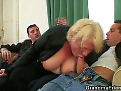 Drunk granny blows young cock