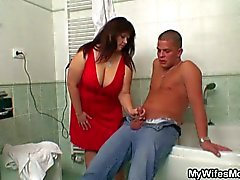 Chubby mother-in-law fucked by son-in-law