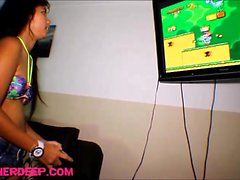 heather Deep playing super mario deepthroat throatpie