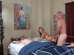 Hot Tits Daughter Fucks Grandpa While Dad Is