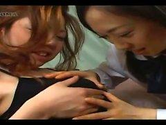 Real lesbian teens lick in a train threesome