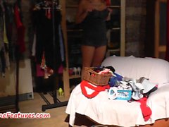 19yo newbie does striptease and footjob at the CASTING