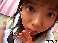 Horny japanese teen gives a perfect blowjob and swallow