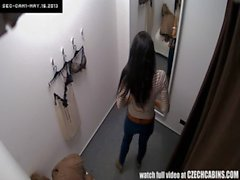 Voyeur Spycam Gorgeous Teen Brunette Fitting Lingerie