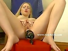 Babe with perky tits and nipples masturbating with toys while fingering her clitoris
