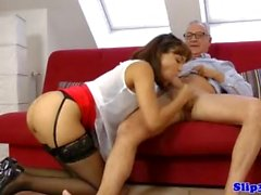 European amateur cocksucks oldman before cum