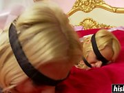 Two girls get tied up together