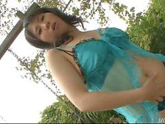 Wild Emiri Takeuchi in the backyard toying her furry muff