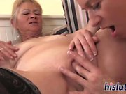 Incredible old-and-young lesbian session with two blondes
