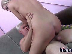 Saucy blonde has her orgasmic muff plowed