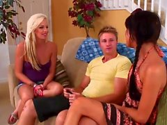 Two guys pickup two HOT girls at the mall & invite them over