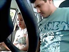 Latina slut sucks and get fucked in a car