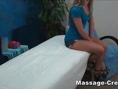 Teen blonde riding hard the masseur