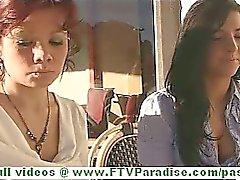 Rita and Madeline hot brunette lesbian women public flashing tits