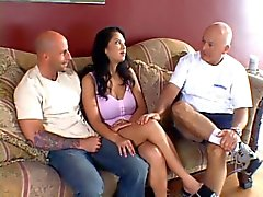 Old man watches his young wife gets her titties and pussy fucked