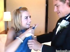 Hot blonde teen fucked after prom