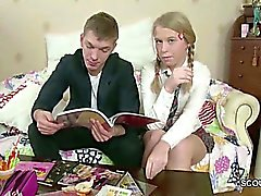 Brother Seduce Petite Step-Sister to Fuck after Homework