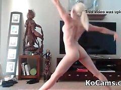 Tiny blonde fake-tits has yoga session