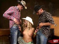 Natural tits cowgirl dp and facial