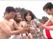 Hot Japanese teen gets treated like a slut by a group of gu
