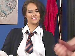 Teen femdom lifts skirt