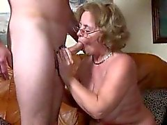 Granny sucks dick and fucks doggy style