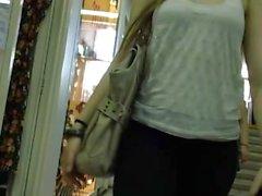 Hot cute blonde girl in see thru leggings