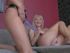 Milf fucking teen with strapon