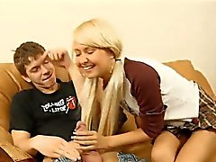 Tiny little Olivia is a cute teen with naughty blonde hair,