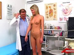 Natural tits doctor gaping with cumshot