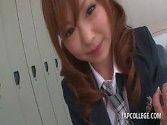 Slutty jap coed chick sucks her gym teachers thick pecker