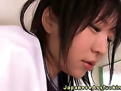 Butt loving asian schoolgirl anal play on desk