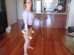 pole dancing nerdy teen